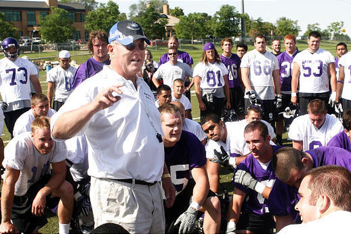 Weber State head coach Ron McBride is where he loves being  on the grass with his football players at a practice.