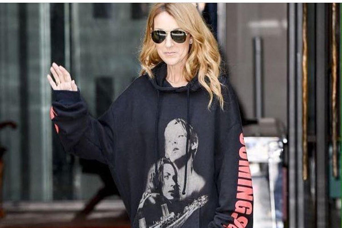 """Celine Dion wearing Vetements's """"Titanic"""" sweatshirt."""