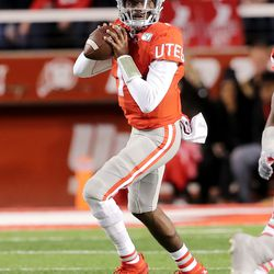 Utah Utes quarterback Tyler Huntley (1) looks to pass the ball as Utah and UCLA play a college football game in Salt Lake City at Rice-Eccles Stadium on Saturday, Nov. 16, 2019.
