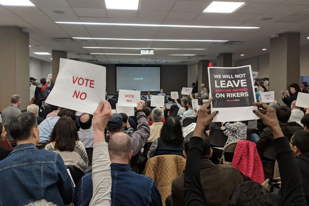 Both opponents and supporters of a plan to build four new jails and close Rikers Island voiced their concerns at a contentious Manhattan Community Board 1 committee meeting on the plan on Monday, April 8, 2019.