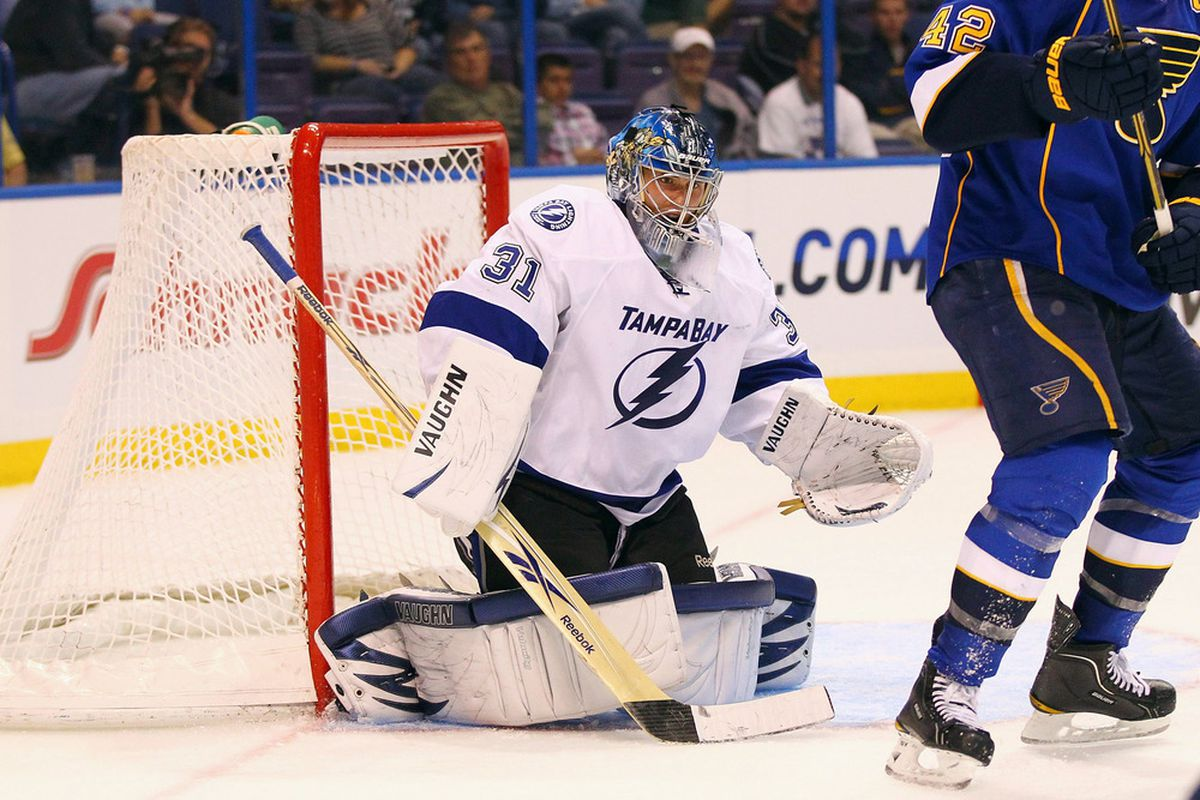 Jaroslav Janus #31 looks to make a save against the St. Louis Blues during a pre-season game September 20, 201