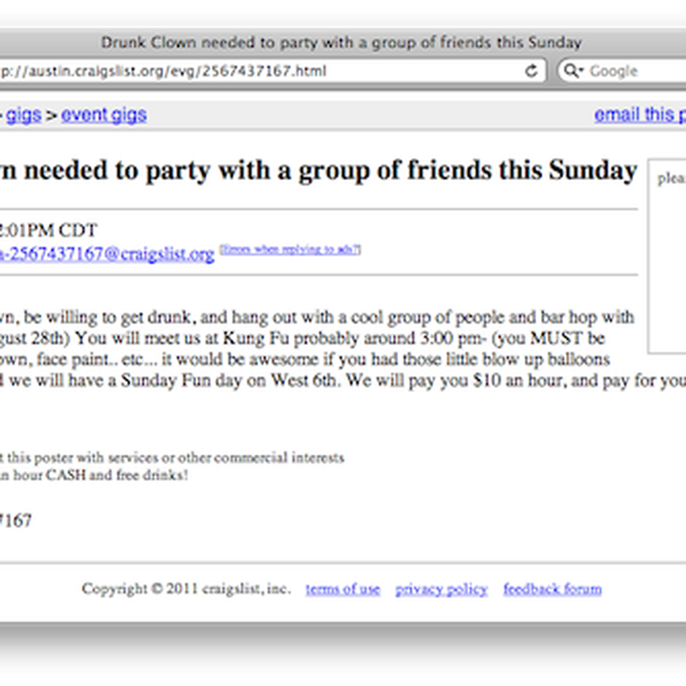 Craigslist Ad Seeks Drunk Clown For $10 an Hour to Party Eater