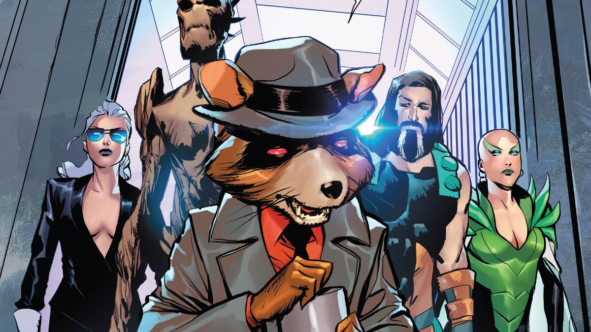 Rocket Racoon, wearing a trenchcoat and fedora, while carrying a flask of alcohol, walks into a room, flanked by Phyla-Vell, Groot, Hercules, and Moondragon, in Guardians of the Galaxy #7, Marvel Comics (2020).