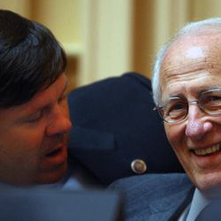 Sen. Ryan T. McDougle, R-Hanover, left, confers with Sen. Harry B. Blevins, R-Chesapeake, right, just before the budget passed the Senate  at the State Capitol in Richmond, Va. Wednesday, April 18, 2012.