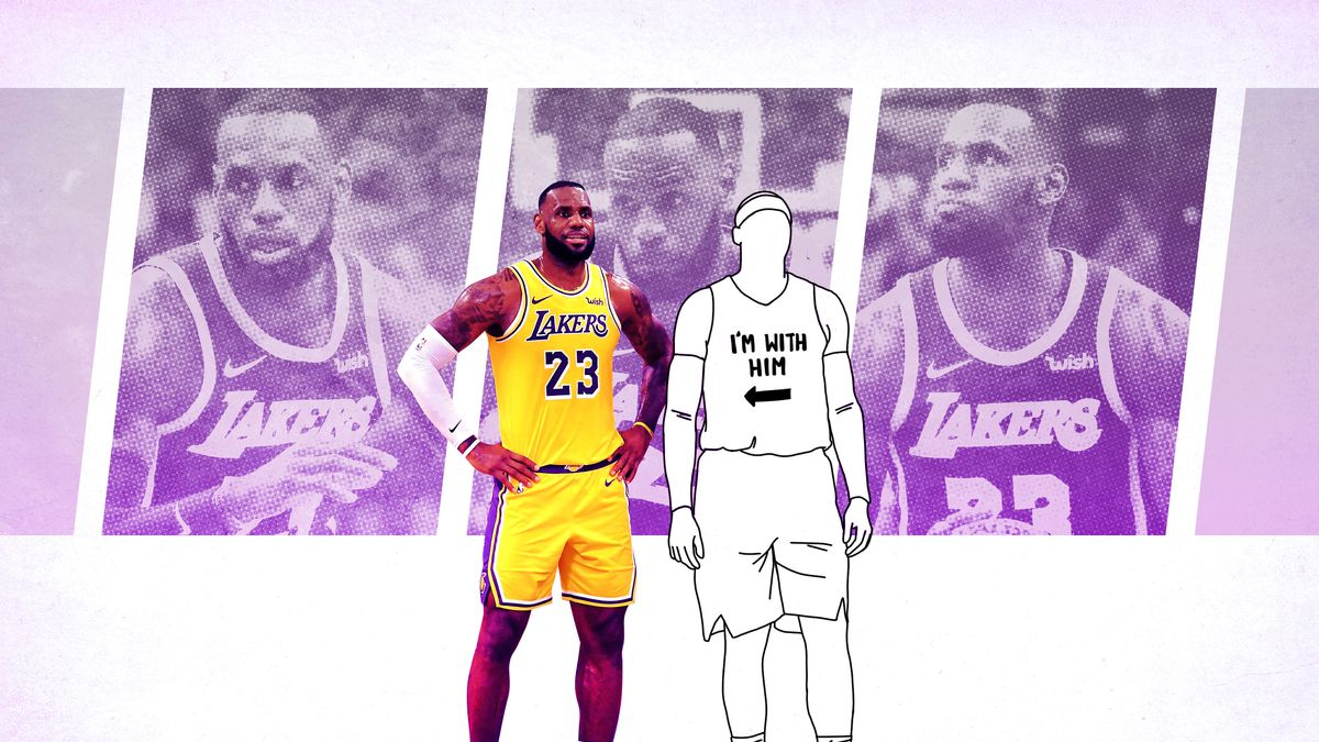 a8be7710 LeBron James standing next to the outline of a teammate wearing a jersey  that says ""