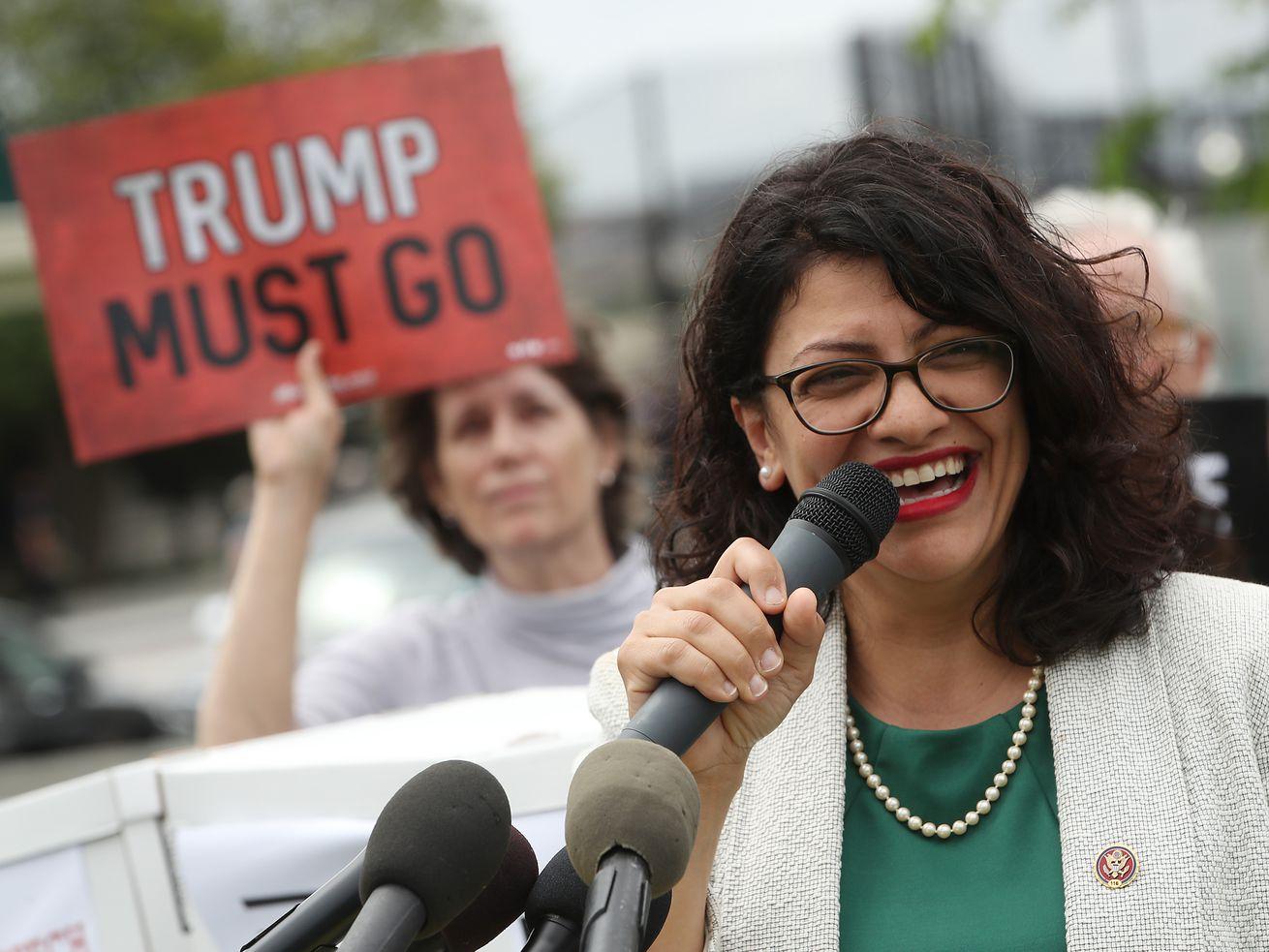 Rep. Rashida Talib (D-MI) at an impeachment rally in Washington, DC.