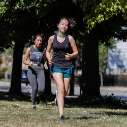 Lane cross-country runners during practice on August 19, 2020.