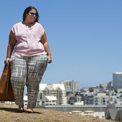 """Zipper front top in dusty rose, $22.99; ankle pant in black/white """"Scratchy Plaid,"""" $29.99"""