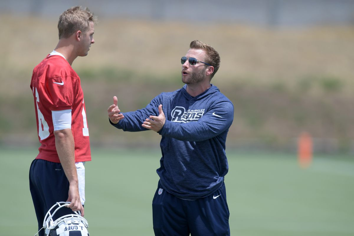 Los Angeles Rams QB Jared Goff gets some guidance from Head Coach Sean McVay at minicamp, Jun. 11, 2019.