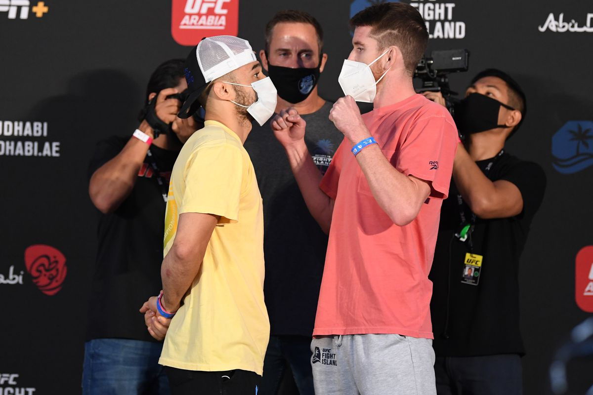 Opponents Marlon Moraes of Brazil and Cory Sandhagen face off during the UFC weigh-in on October 09, 2020 on UFC Fight Island, Abu Dhabi, United Arab Emirates.