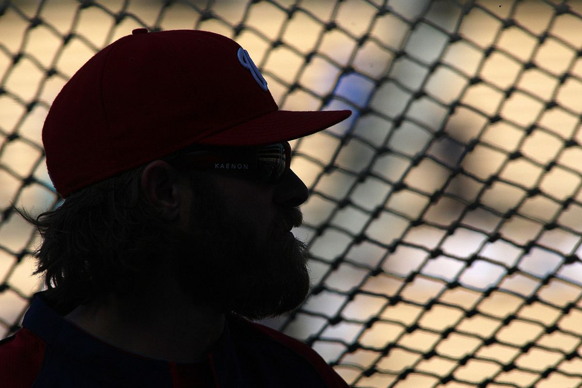 Apr 28, 2012; Los Angeles, CA, USA; Washington Nationals right fielder Jayson Werth (28) is silhouetted during batting practice before a game against the Los Angeles Dodgers at Dodger Stadium.  Mandatory Credit: Jake Roth-US PRESSWIRE