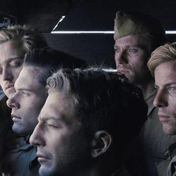 """Clockwise, from top left) Harris (Louis Mcintosh), Fitzgerald (Garrett Hedlund), Miller (Luke Treadaway), Blackie (Ross Anderson), Tinker (John Magaro) and Zamperini (Jack O'Connell) in """"Unbroken,"""" an epic drama that follows the incredible life of Olympian and war hero Louis Zamperini who, along with two other crewmen, survived in a raft for 47 days after a near-fatal plane crash in WWII — only to be caught by the Japanese Navy and sent to a prisoner-of-war camp."""