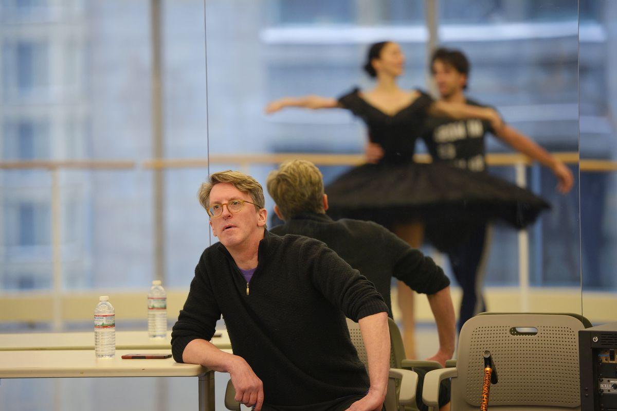 "Joffrey Ballet artistic director Ashley Wheater watches dancers Victoria Jaiani and Alberto Velazquez during a rehearsal of ""Anna Karenina."""