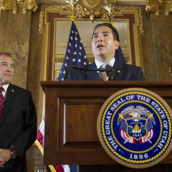Utah Gov. Gary Herbert and Attorney General Sean Reyes speak Monday, Oct. 6, 2014, to members of the media at the state Capitol after the U.S. Supreme Court refused to hear appeals on lower court rulings that allowed same-sex marriages, making them legal in Utah and other states.