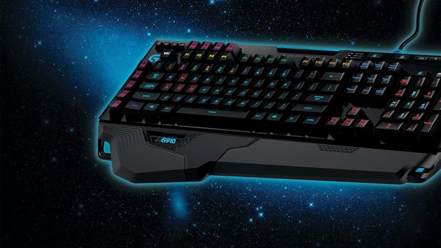 A product shot of the Logitech G910 Orion Spark keyboard on a starry background