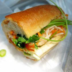 "Vegetarian banh mi sandwich from Banh Mi Saigon bakery by <a href=""http://www.flickr.com/photos/foodforfel/8069919065/in/pool-eater/"">Food for Fel</a>."