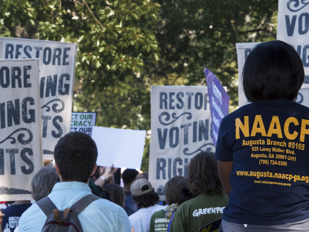 Voting rights supporters and labor unions gather for a Capitol Hill protest calling for the restoration of the Voting Rights Act on September 16, 2015.