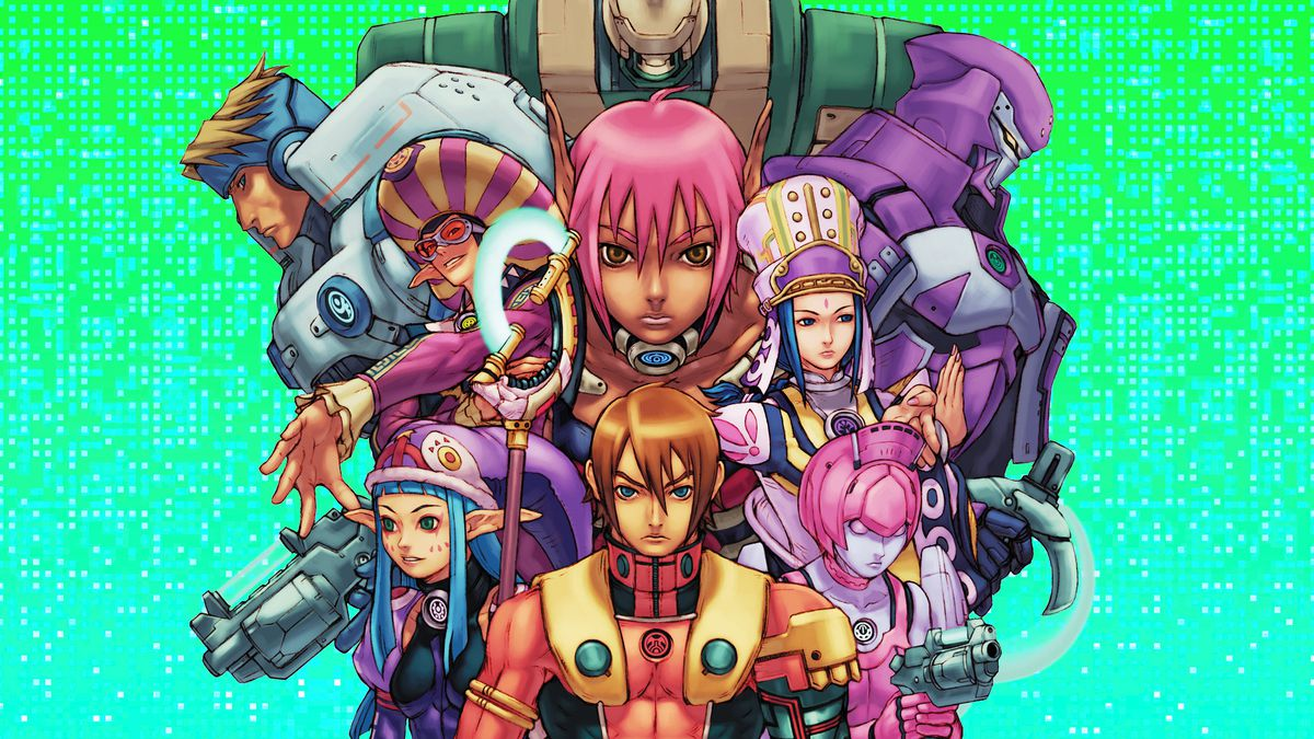 Graphic artwork featuring a montage of characters from the video game Phantasy Star Online over a bright green blue pixelated background