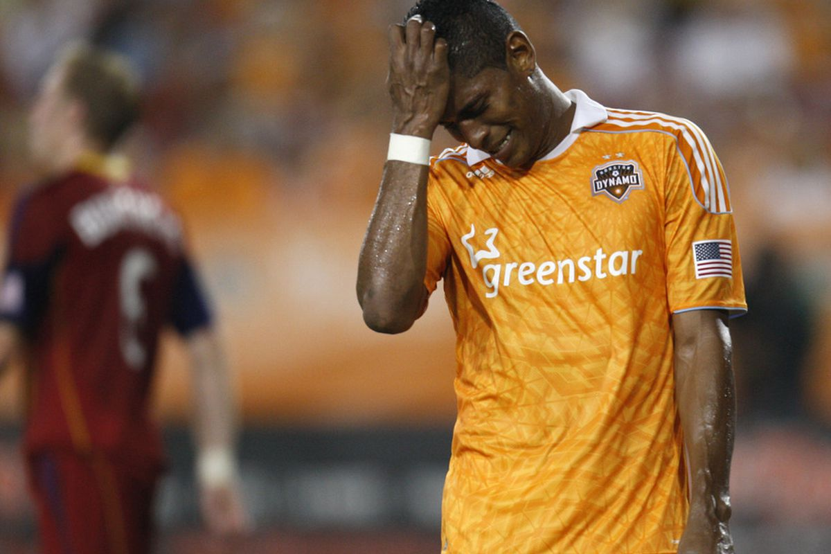 HOUSTON, TX - AUGUST 20: Carlo Costly #29 of the Houston Dynamo reacts after missing a goal opportunity against Real Salt Lake in the second half at Robertson Stadium on August 20, 2011 in Houston, Texas.  (Photo by Eric Christian Smith/Getty Images)
