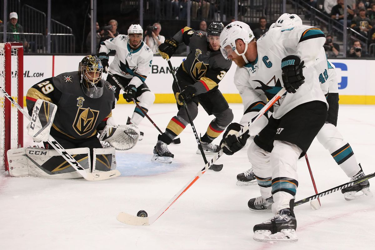 GLENDALE, NV - APRIL 26: Goaltender Marc-Andre Fleury #29 of the Vegas Golden Knights prepares to make a save on Joe Pavelski #8 of the San Jose Sharks in the first period Game One of the Western Conference Second Round during the 2018 NHL Stanley Cup Pla