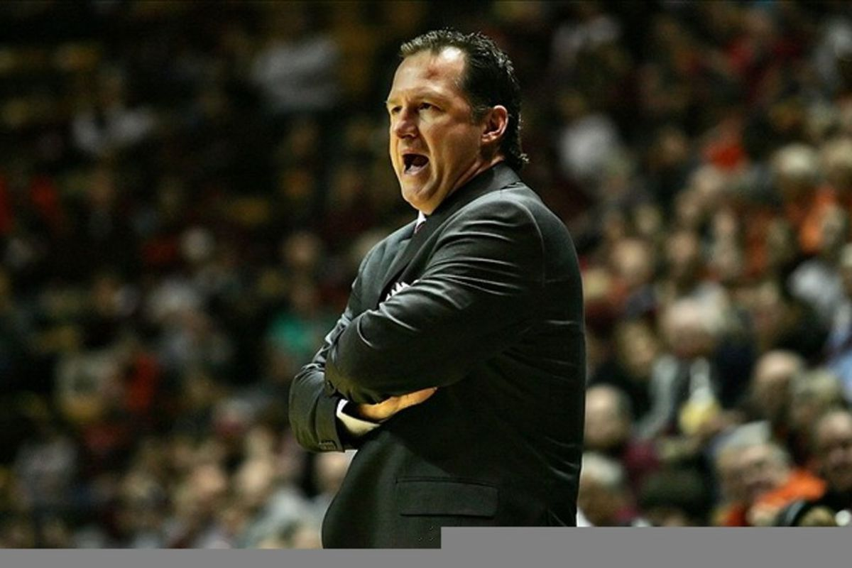 March 4, 2012; Blacksburg, VA, USA; North Carolina State Wolfpack head coach Mark Gottfried yells to his players against the Virginia Tech Hokies at Cassell Coliseum. Mandatory Credit: Peter Casey-US PRESSWIRE