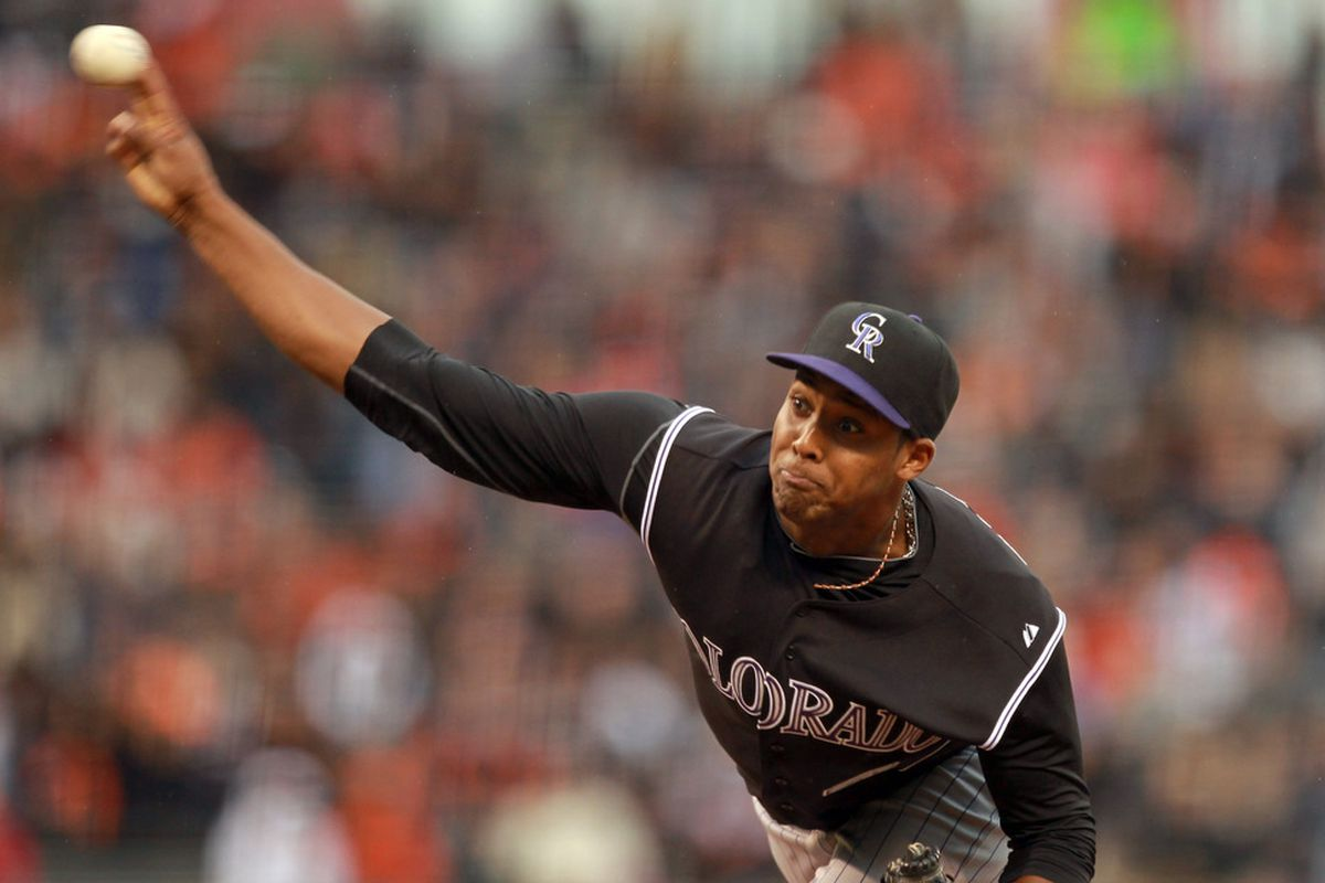 SAN FRANCISCO, CA - JUNE 03:  Juan Nicasio #44 of the Colorado Rockies pitches against the San Francisco Giants at AT&T Park on June 3, 2011 in San Francisco, California.  (Photo by Ezra Shaw/Getty Images)