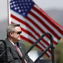 Scott Blackmun, chief executive officer of the U.S. Olympic Committee, looks on during a ceremonial groundbreaking for a new Olympic museum Friday, June 9, 2017, in Colorado Springs, Colo. The $75-million project will be built just blocks away from the U.S. Olympic Committee headquarters an the U.S. Olympic Training Center and breathe new life into the city's core.