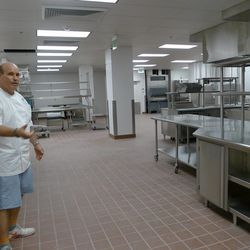 Todd Gray shows off the resort's gleaming 3,500-square-foot kitchen.