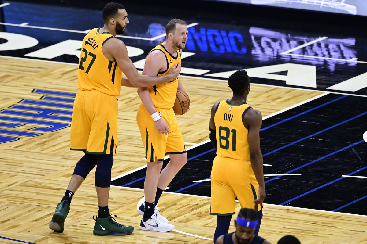 Joe Ingles of the Utah Jazz reacts during the first quarter against the Orlando Magic at Amway Center on February 27, 2021 in Orlando, Florida.