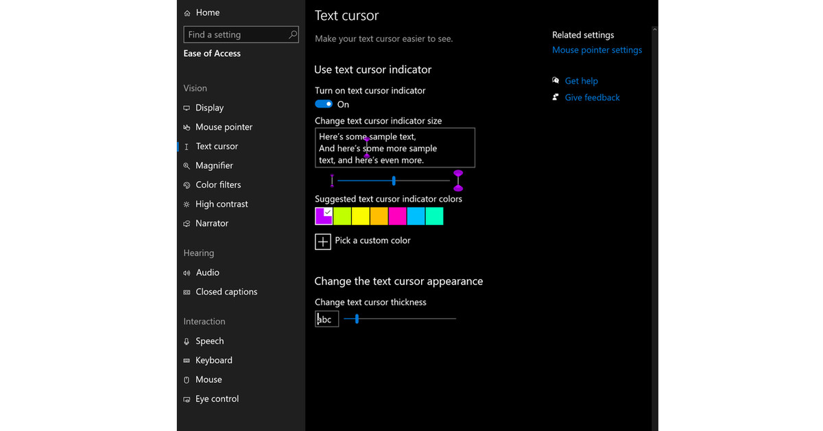 Windows 10 gets accessibility improvements to cursor, screen reader, and more