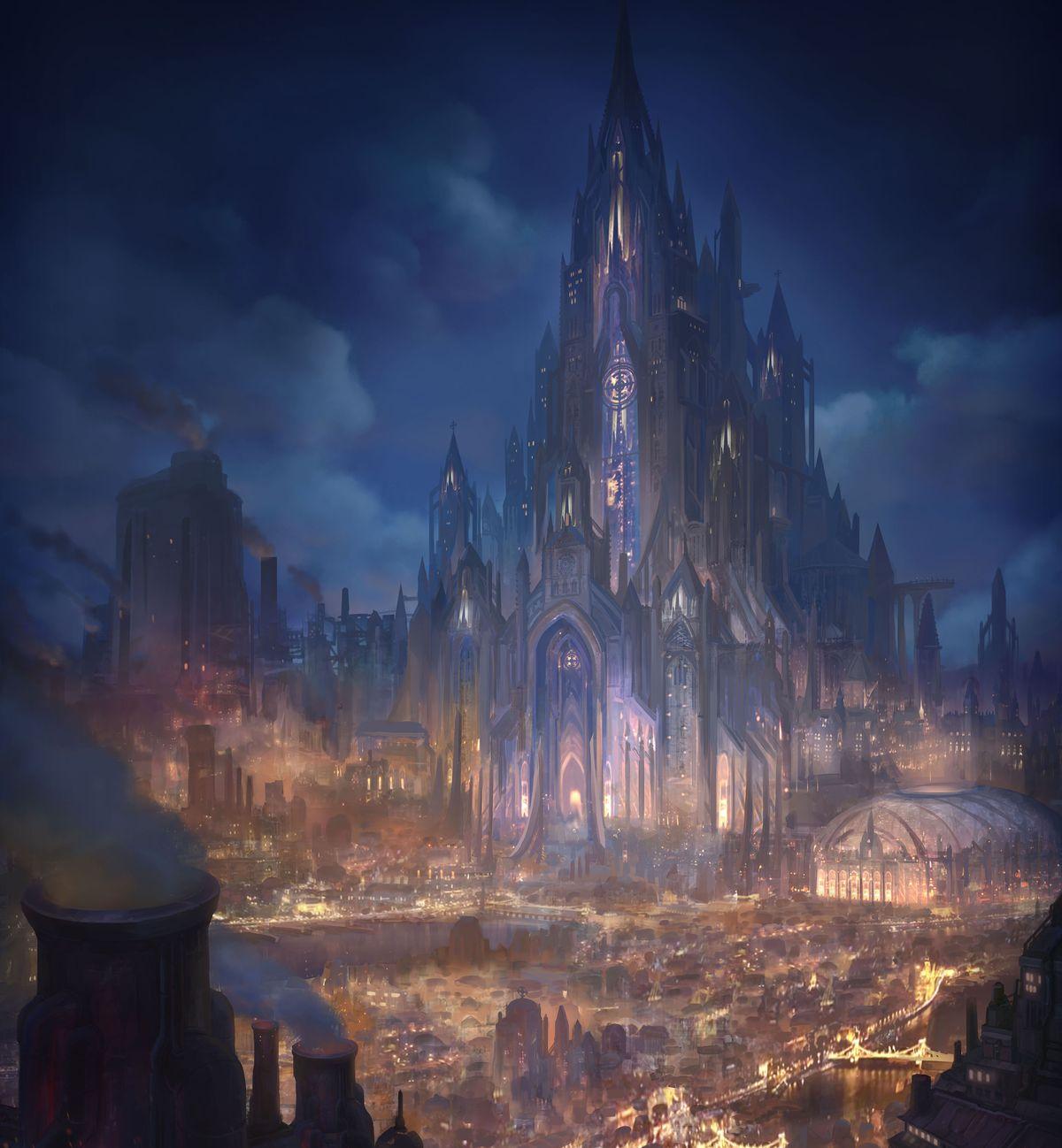 A shining city on a hill, bright lights below.