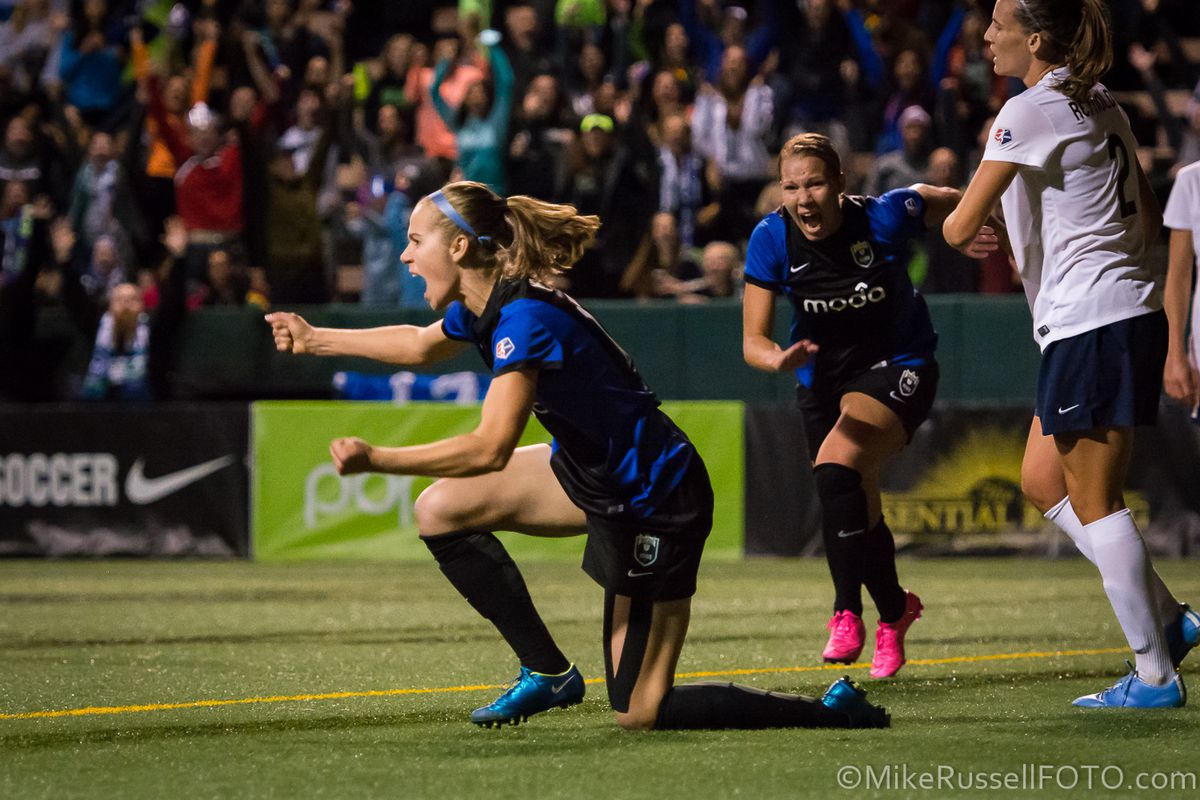 Bev Yanez celebrates her opening goal in the 70th minute