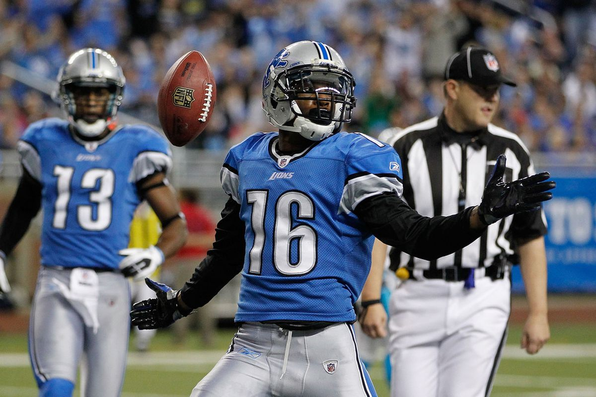 DETROIT, MI - NOVEMBER 20:  Titus Young #16 of the Detroit Lions celebrate a second quarter touchdown while playing the Carolina Panthers at Ford Field on November 20, 2011 in Detroit, Michigan.  (Photo by Gregory Shamus/Getty Images)