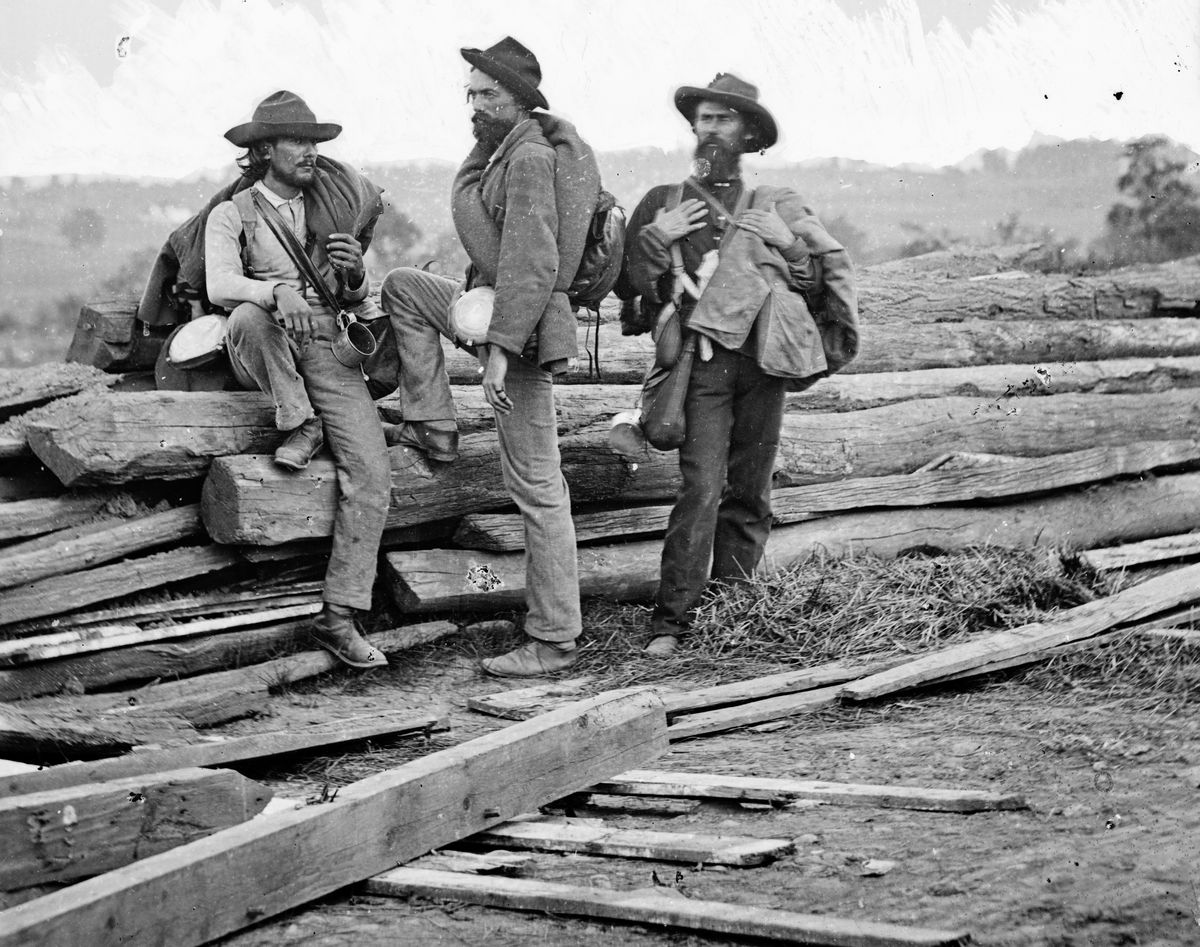 A photo of three Confederate soldiers taken by Mathew B. Brady shortly after the end of the Civil War.