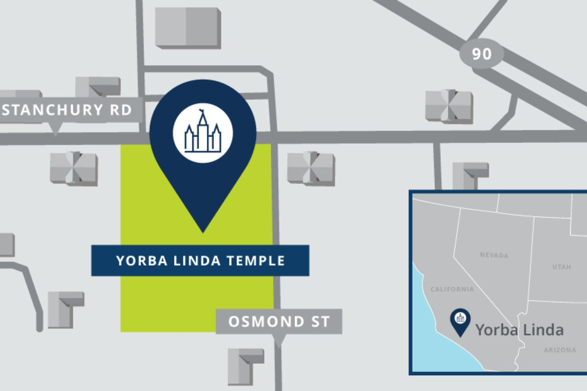 A map shows the location of new Yorba Linda California Temple.