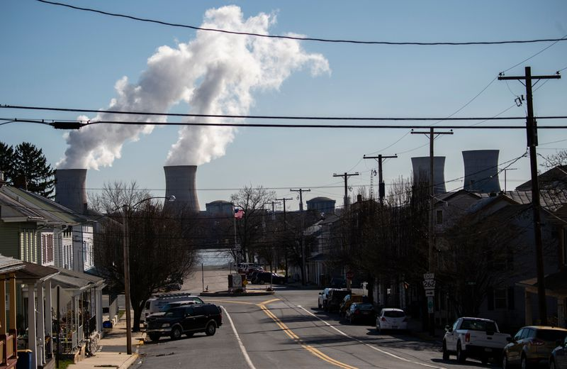 Steam rises out of the nuclear plant on Three Mile Island in Goldsboro, Pennsylvania.