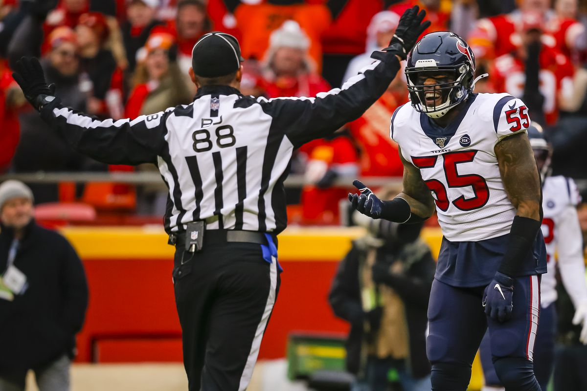 Benardrick McKinney #55 of the Houston Texans argues a pass interference call with field judge Brad Freeman #88 during the second quarter of the AFC Divisional playoff game against the Kansas City Chiefs at Arrowhead Stadium on January 12, 2020 in Kansas City, Missouri.