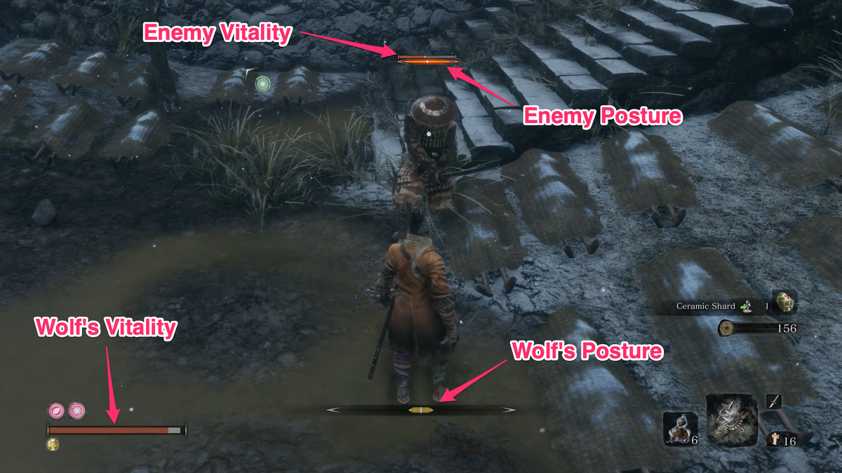 Wolf's and an enemy's Vitality and Posture gauge locations