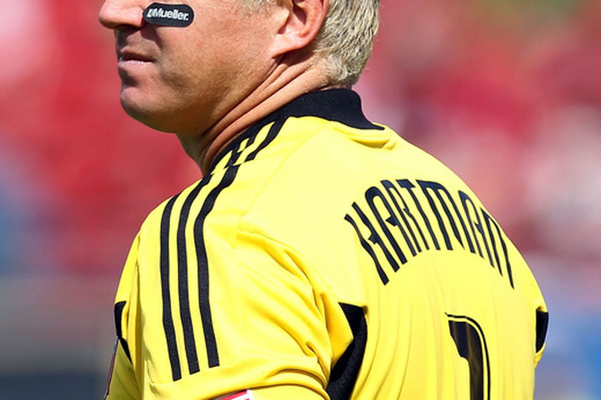 FRISCO, TX - SEPTEMBER 24:  Kevin Hartman of FC Dallas wears an arm band in memory of Bobby Rhine during play against the Houston Dynamo  at Pizza Hut Park on September 24, 2011 in Frisco, Texas.  (Photo by Ronald Martinez/Getty Images)
