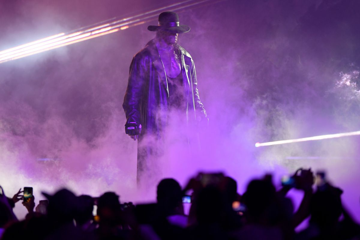 World Wrestling Entertainment star The Undertaker makes his way to the ring during a match at the World Wrestling Entertainment (WWE) Super Showdown event in the Saudi Red Sea port city of Jeddah late on January 7, 2019.