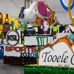 Floats, including one from KSL, center, are pictured during the Days of '47 Float Preview Party at the Mountain America Expo Center in Sandy on Tuesday, July 20, 2021.