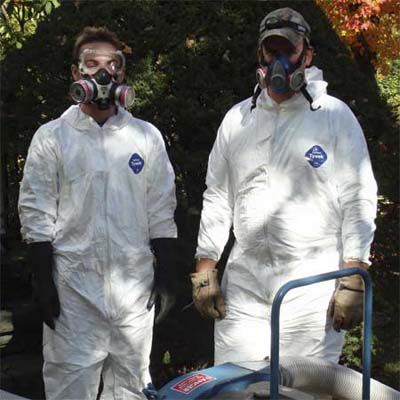 Crew Members Suited Up To Clean Bat-Infested Attic