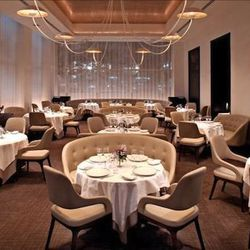 """<b>Jean Georges</b>: Those love seats are of course extremely comfortable, but check out that arm/back combination on those chairs.  JGV does not f*ck around with seating in his restaurants.  (<a href=""""ttp://nyjournal.squarespace.com/journal/2010/11/17/je"""
