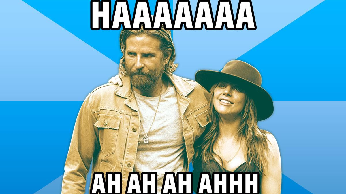Bradley Cooper and Lady Gaga from 'A Star Is Born' in meme form