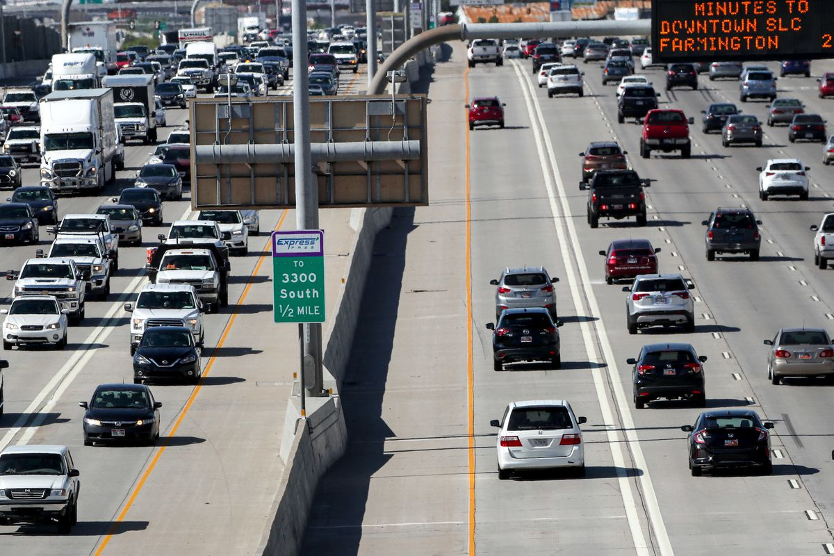 Traffic on I-15 near 5300 South in Murray is pictured on Thursday, July 12, 2018.