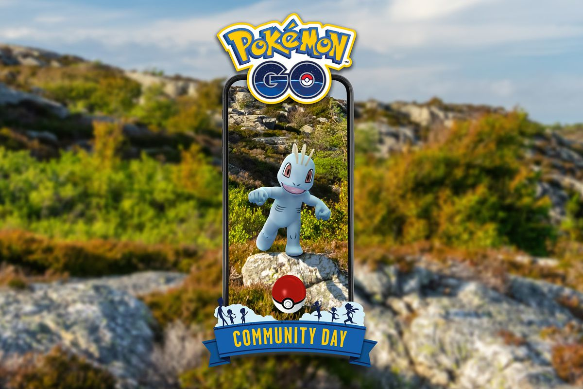 A Machop throws a punch in a grassy hill area