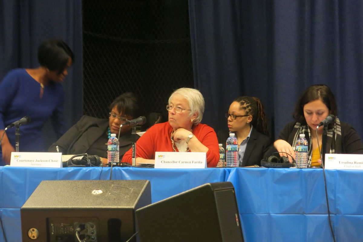 Chancellor Carmen Fariña listens to community members weigh in co-location proposals at the Feb. 25 Panel for Educational Policy meeting.