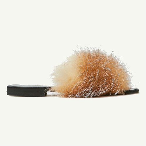 Parme Marin furry taupe slides.
