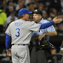 Ned Yost #3 manager of the Kansas City Royals argues a call with home plate umpire Mike Everitt during a game against the Chicago White Sox on August 12, 2011 at U.S. Cellular Field in Chicago, Illinois.