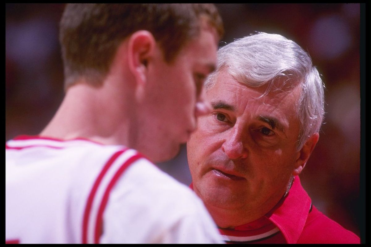 Bob Knight with the player whose allegations began his downfall.  (Photo used via Getty Images subscription; photo by Gary Mook).